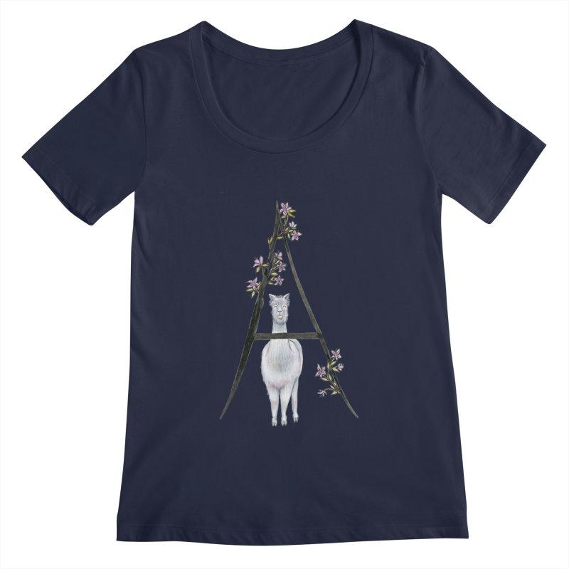 A is for Alpaca and Azalea Women's Regular Scoop Neck by FoxandCrow's Artist Shop