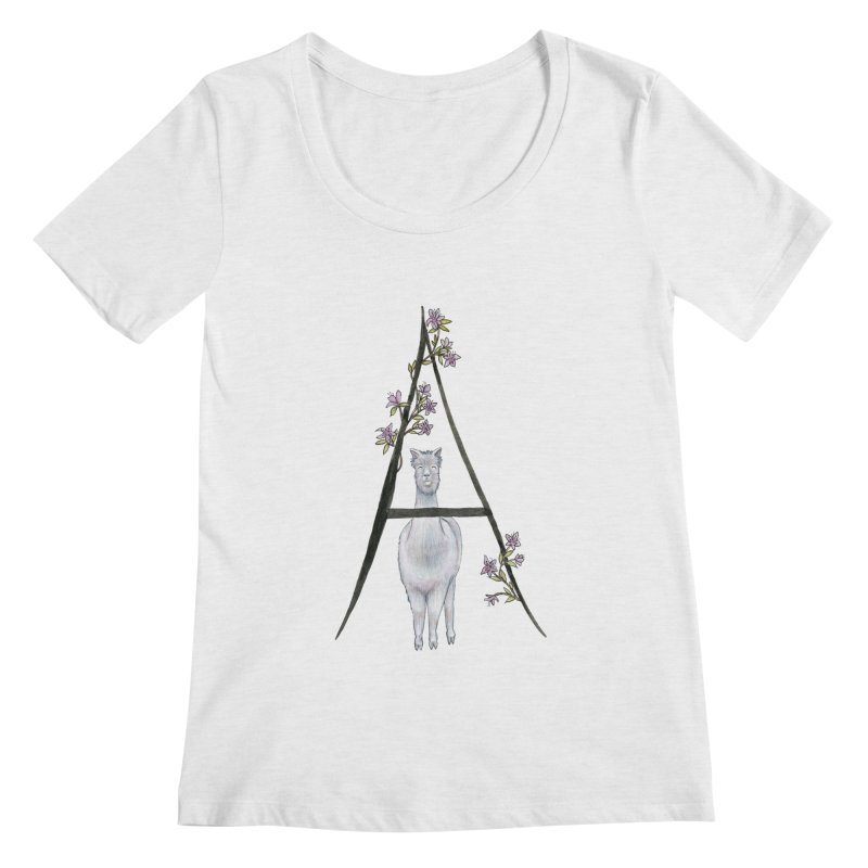 A is for Alpaca and Azalea Women's Regular Scoop Neck by FoxandCrow's Artist Shop