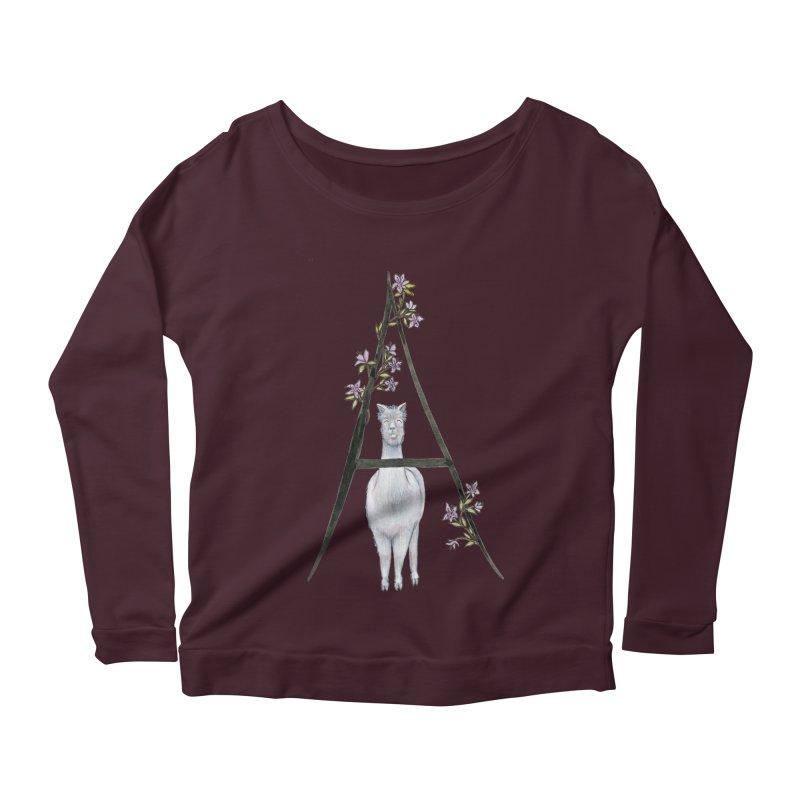 A is for Alpaca and Azalea Women's Scoop Neck Longsleeve T-Shirt by FoxandCrow's Artist Shop