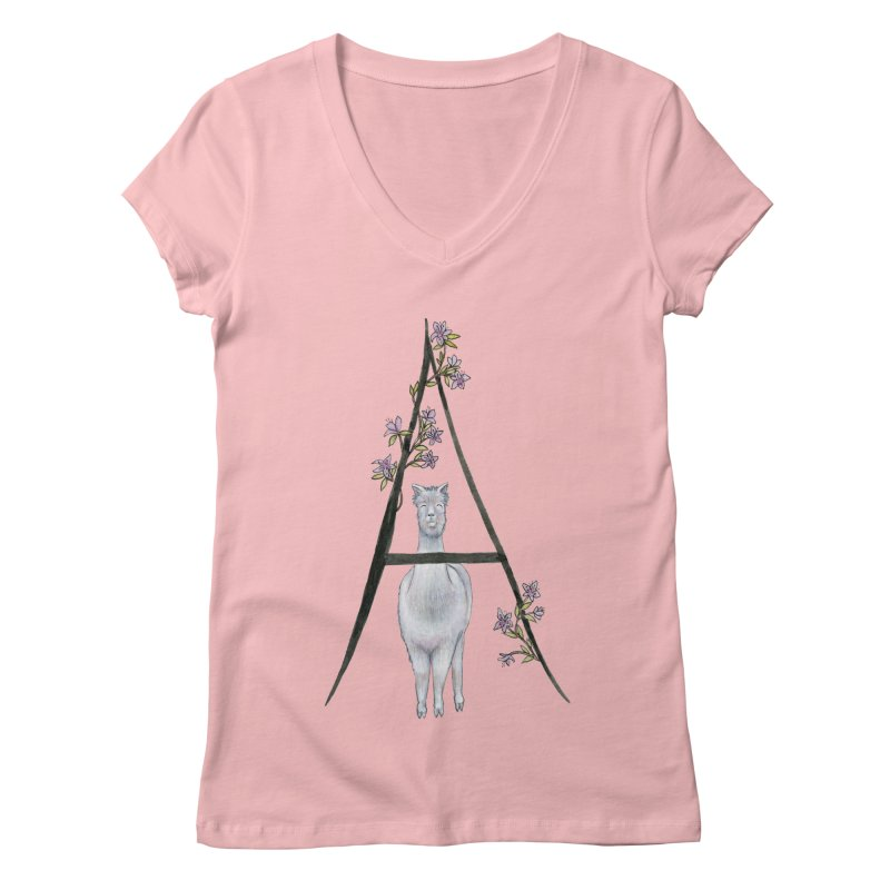 A is for Alpaca and Azalea Women's Regular V-Neck by FoxandCrow's Artist Shop
