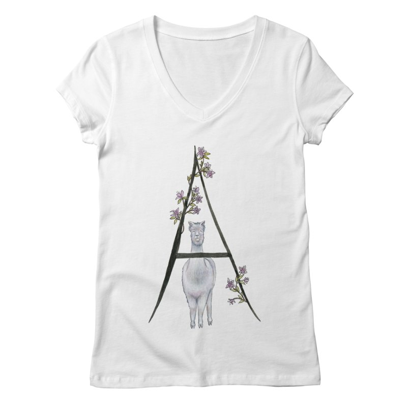 A is for Alpaca and Azalea Women's Regular V-Neck by FoxandCrow's Artist Shop