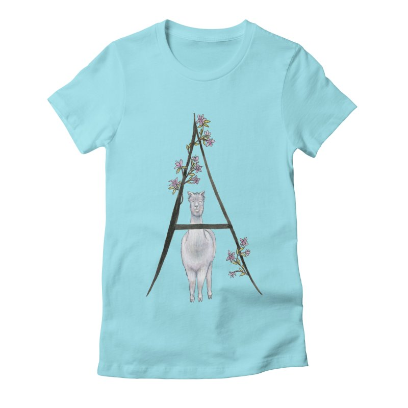 A is for Alpaca and Azalea Women's Fitted T-Shirt by FoxandCrow's Artist Shop