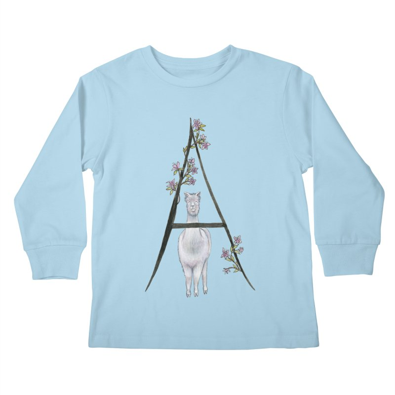 A is for Alpaca and Azalea Kids Longsleeve T-Shirt by FoxandCrow's Artist Shop