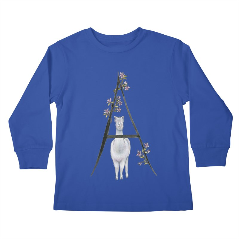 A is for Alpaca and Azalea Kids Longsleeve T-Shirt by FoxandCrow's Artist Shop