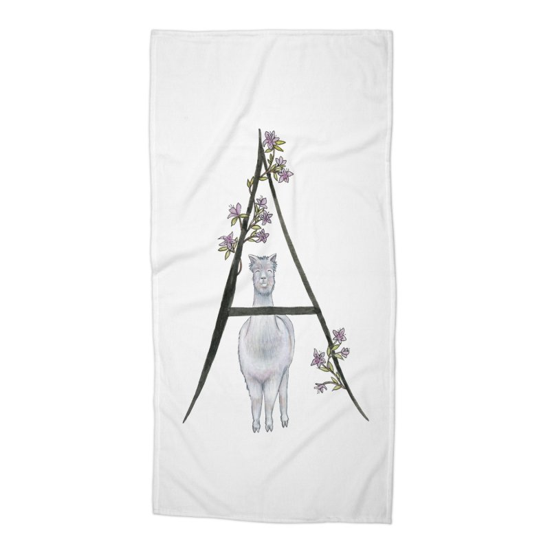 A is for Alpaca and Azalea Accessories Beach Towel by FoxandCrow's Artist Shop
