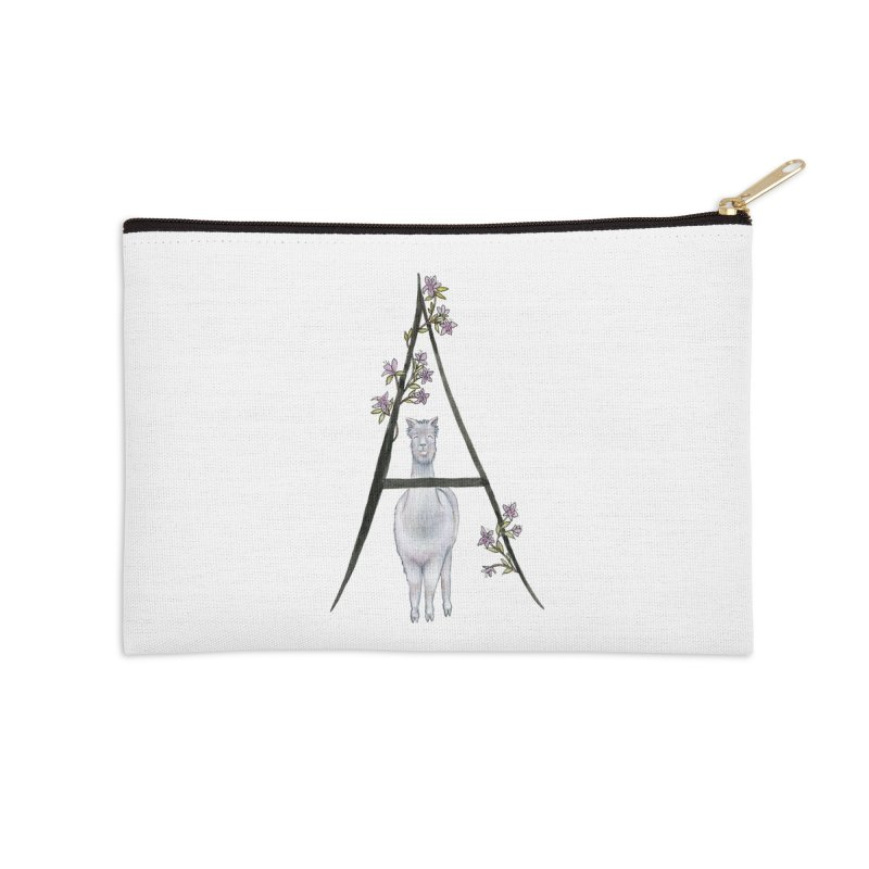 A is for Alpaca and Azalea Accessories Zip Pouch by FoxandCrow's Artist Shop