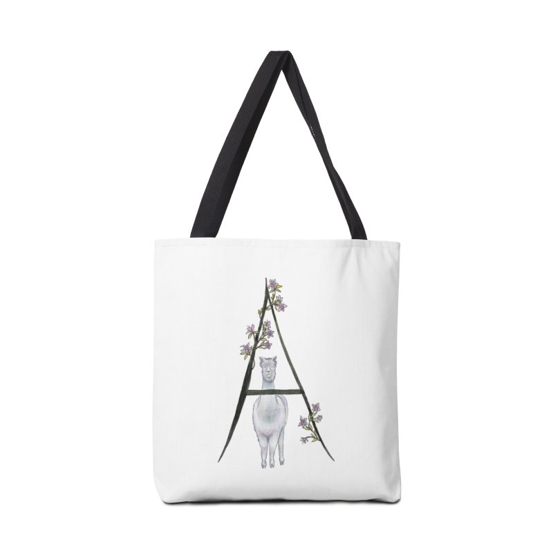 A is for Alpaca and Azalea Accessories Tote Bag Bag by FoxandCrow's Artist Shop