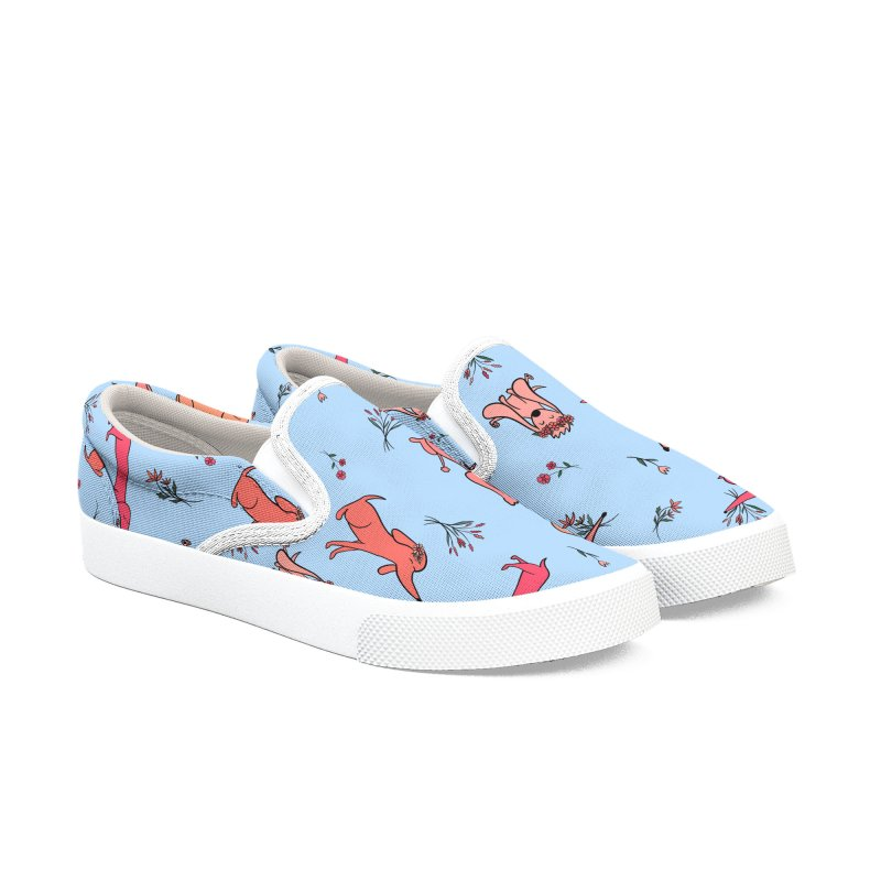 Pink Doggies and Flowers Men's Slip-On Shoes by FoxandCrow's Artist Shop