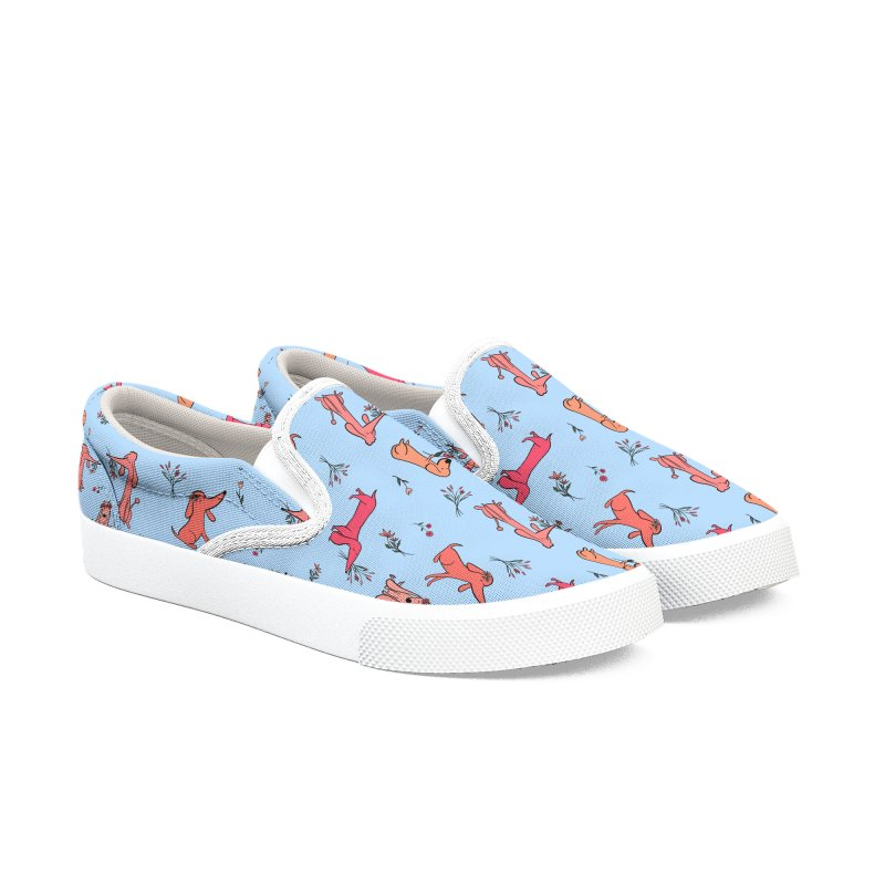 Pink Dogs and Flower Shoes Men's Slip-On Shoes by FoxandCrow's Artist Shop