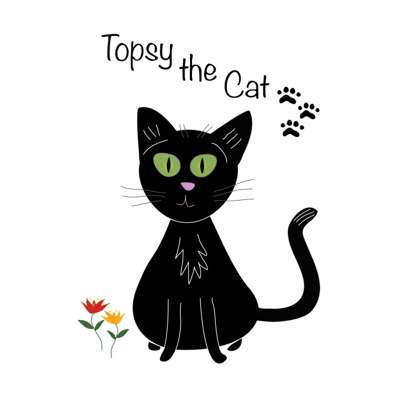 Topsy the Cat - Flowers by Frankie and Harry's Bookshelf Artist Shop