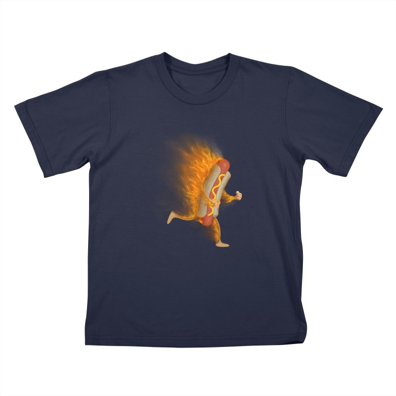 Flamin' Hot Dog Kids T-Shirt by Frankplastic's Artist Shop