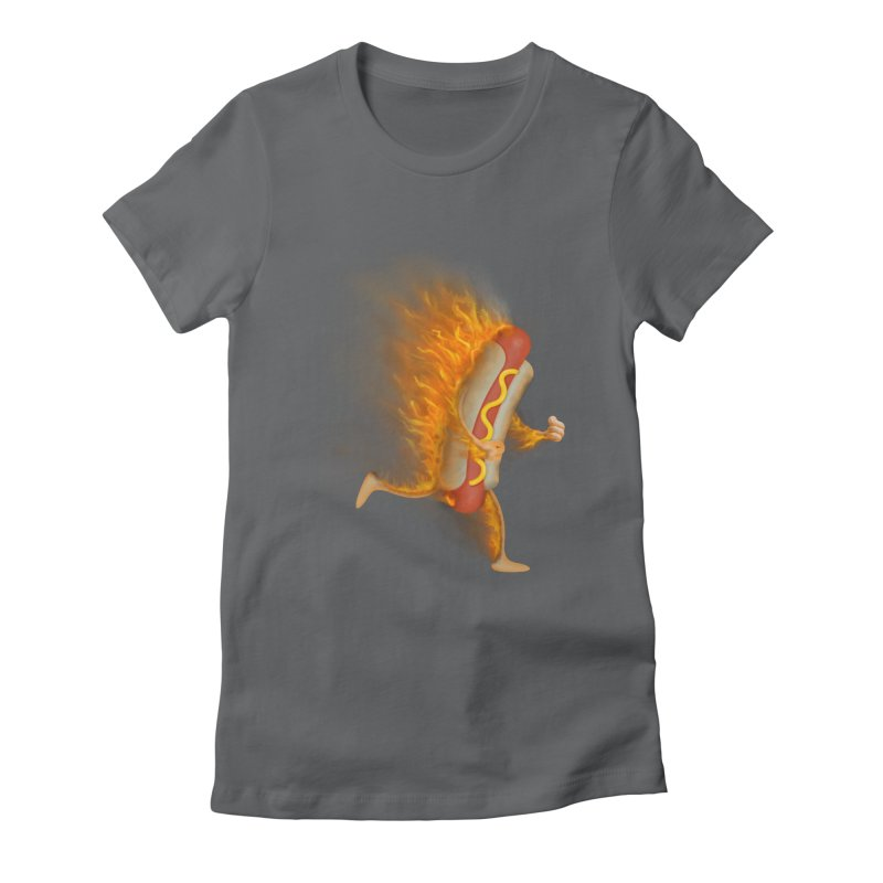 Flamin' Hot Dog Women's Fitted T-Shirt by Frankplastic's Artist Shop
