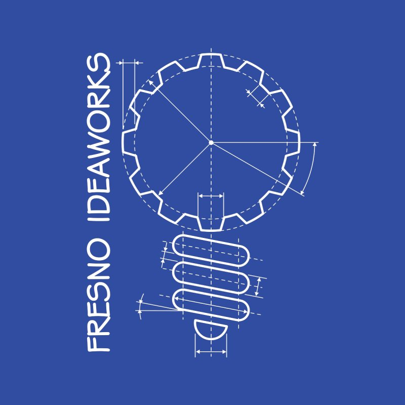 Classic Fresno Ideaworks Gearbulb Schematic (White on Blue) Accessories Notebook by Fresno Ideaworks
