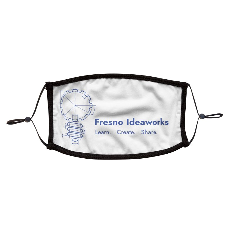 Learn. Create. Share. (Blue Text) Accessories Face Mask by Fresno Ideaworks