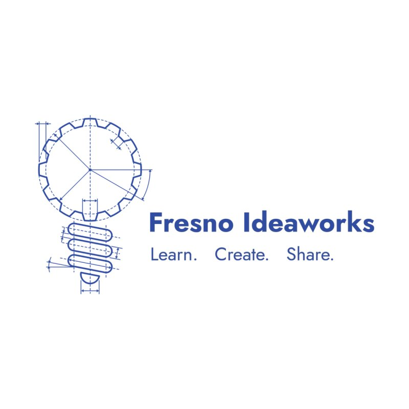 Learn. Create. Share. (Blue Text) Accessories Sticker by Fresno Ideaworks