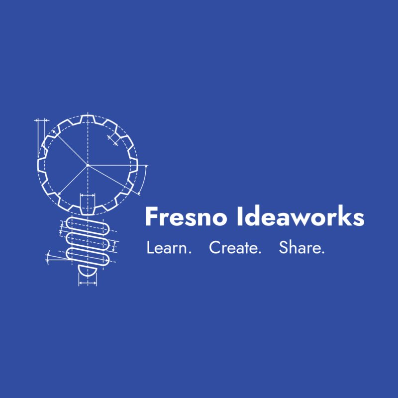 Learn. Create. Share. (White Text) Men's Zip-Up Hoody by Fresno Ideaworks