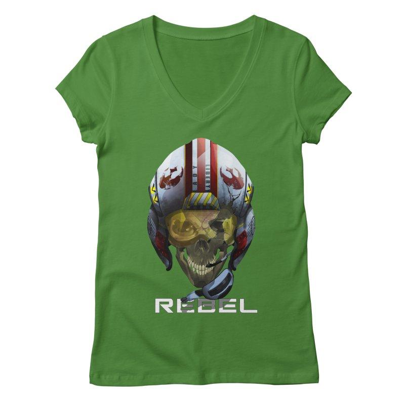 REBEL Women's Regular V-Neck by FunctionalFantasy Artist Shop