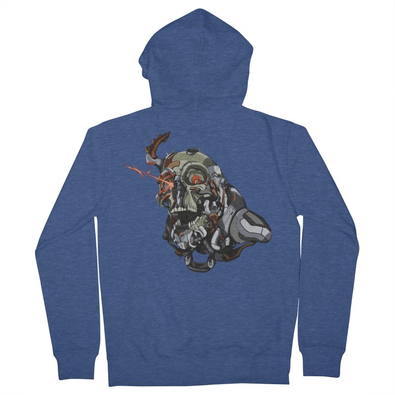 CyberSkull Men's French Terry Zip-Up Hoody by FunctionalFantasy Artist Shop
