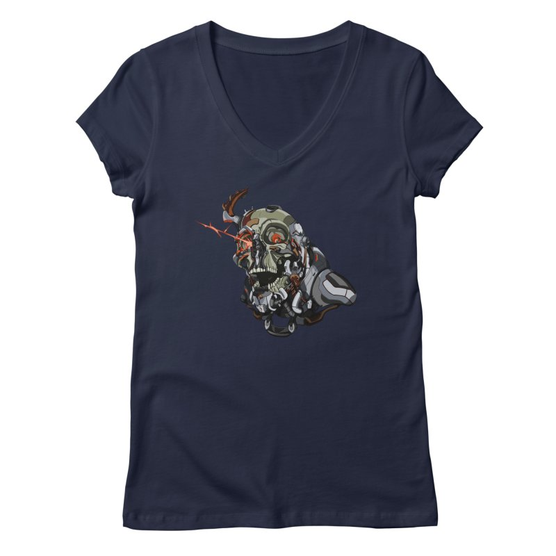 CyberSkull Women's Regular V-Neck by FunctionalFantasy Artist Shop
