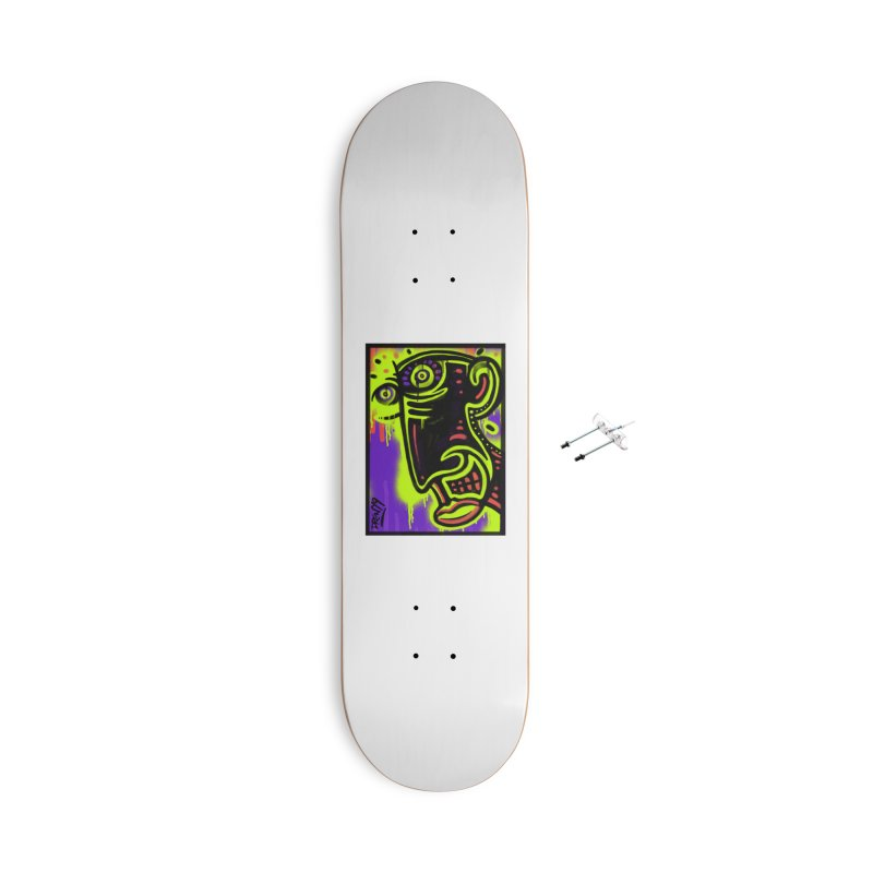 Neon Greened Accessories With Hanging Hardware Skateboard by Fuzzy Poet's Artist Shop