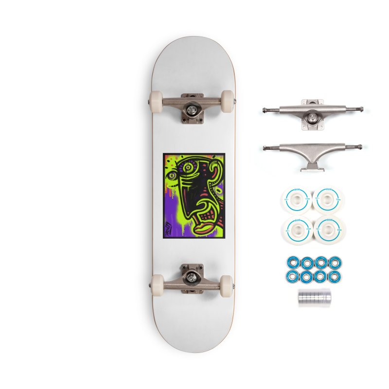 Neon Greened Accessories Complete - Basic Skateboard by Fuzzy Poet's Artist Shop