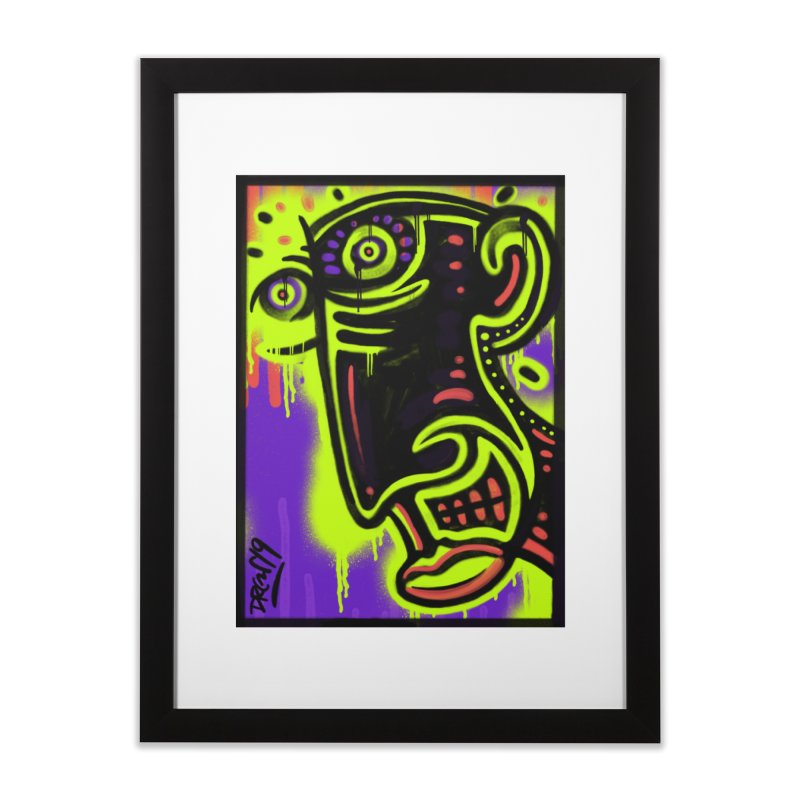 Neon Greened Home Framed Fine Art Print by Sophisticated Lowbrow Art For The Discerning Masse