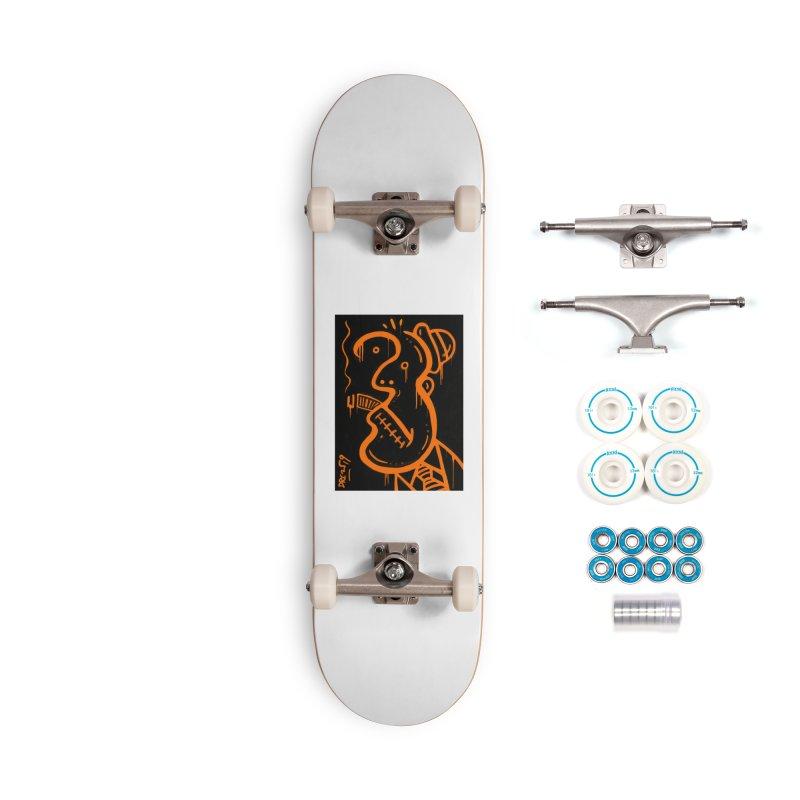 Orange Drip Dry Guy Accessories Complete - Basic Skateboard by Fuzzy Poet's Artist Shop