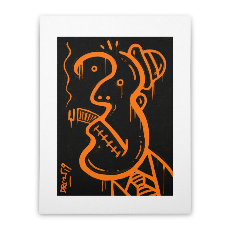 Orange Drip Dry Guy Home Stretched Canvas by Fuzzy Poet's Artist Shop