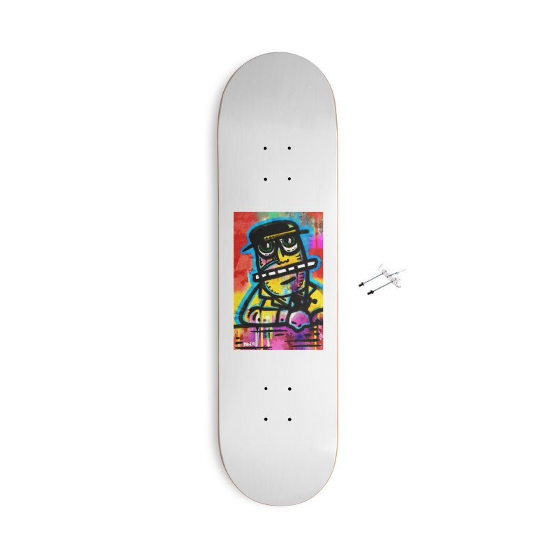 Fedora Dude Accessories With Hanging Hardware Skateboard by Fuzzy Poet's Artist Shop