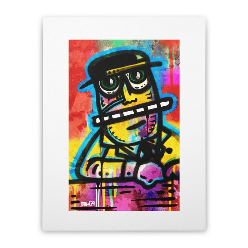 Fedora Dude Home Stretched Canvas by Fuzzy Poet's Artist Shop