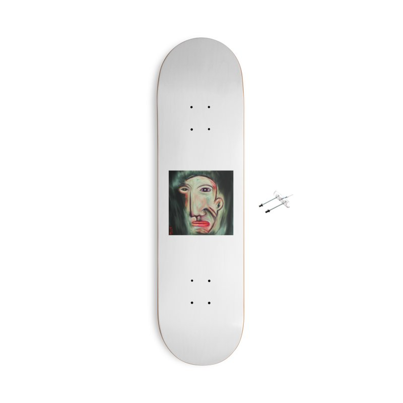 Painterly Face Accessories With Hanging Hardware Skateboard by Fuzzy Poet's Artist Shop