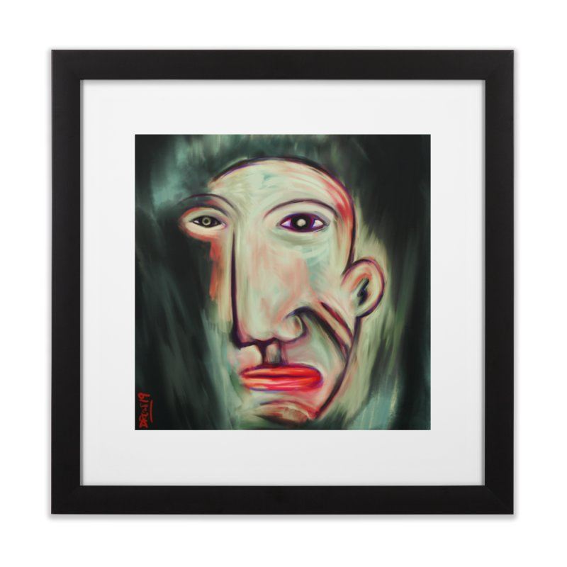 Painterly Face Home Framed Fine Art Print by Fuzzy Poet's Artist Shop