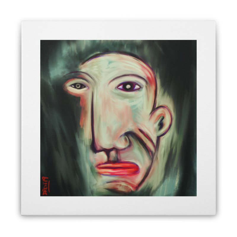 Painterly Face Home Stretched Canvas by Fuzzy Poet's Artist Shop