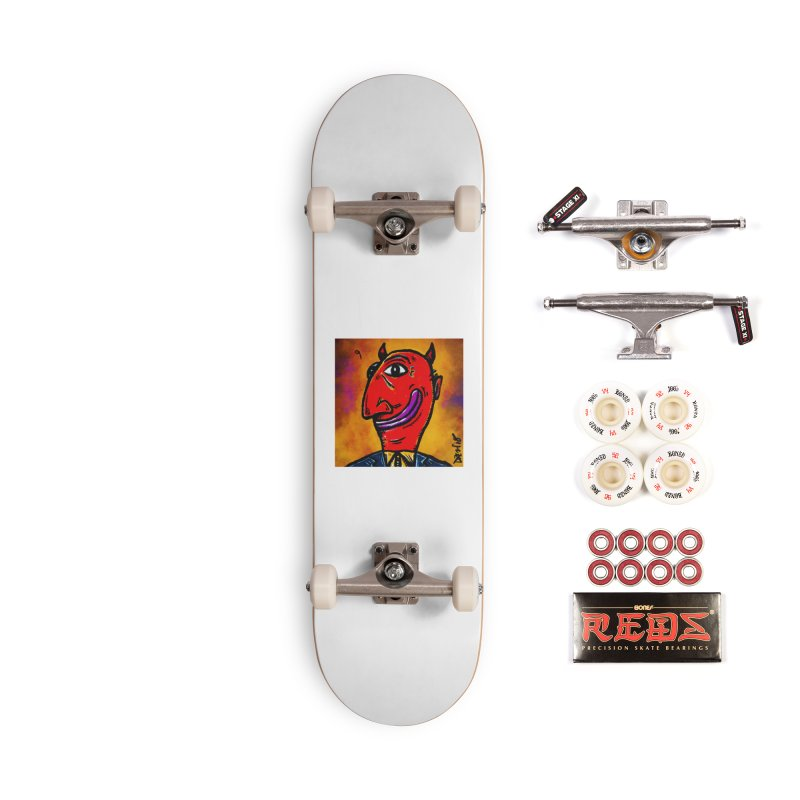 Smiling Diablo Accessories Complete - Pro Skateboard by Fuzzy Poet's Artist Shop