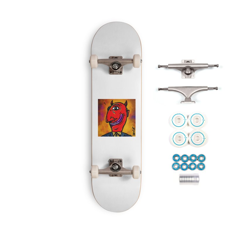 Smiling Diablo Accessories Complete - Basic Skateboard by Fuzzy Poet's Artist Shop