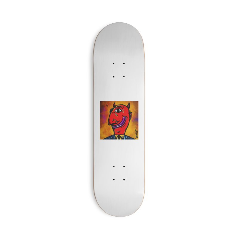 Smiling Diablo Accessories Deck Only Skateboard by Fuzzy Poet's Artist Shop