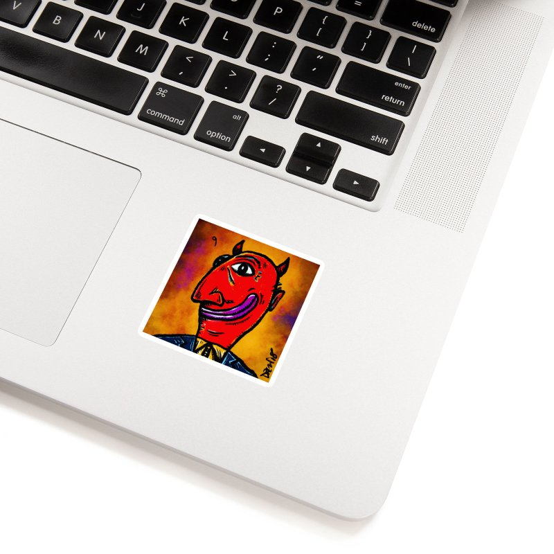 Smiling Diablo Accessories Sticker by Fuzzy Poet's Artist Shop