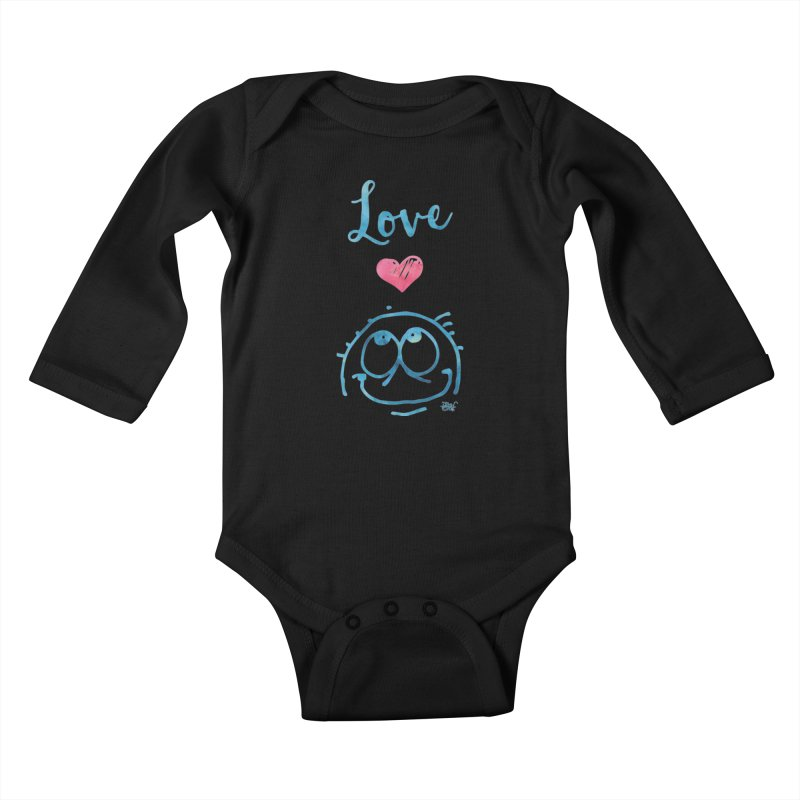 Love Smile Kids Baby Longsleeve Bodysuit by Fuzzy Poet's Artist Shop
