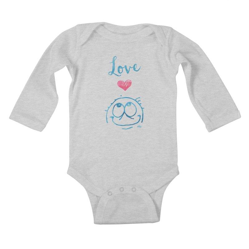 Love Smile Kids Baby Longsleeve Bodysuit by Fuzzy Poet's Artist Shop