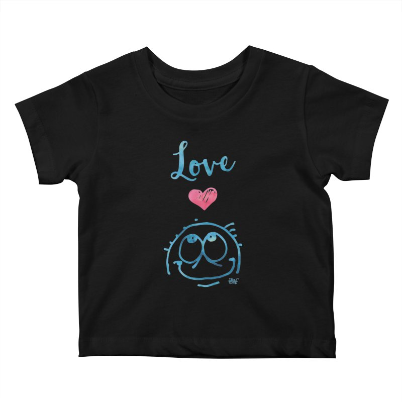 Love Smile Kids Baby T-Shirt by Fuzzy Poet's Artist Shop