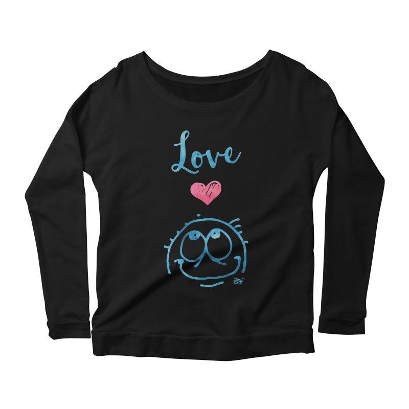 Love Smile Women's Scoop Neck Longsleeve T-Shirt by Fuzzy Poet's Artist Shop