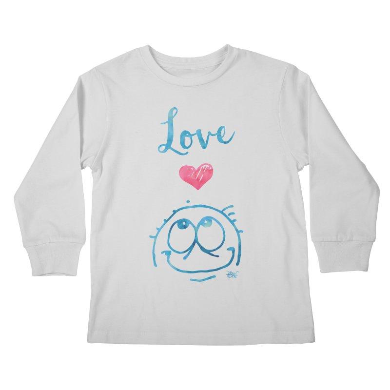 Love Smile Kids Longsleeve T-Shirt by Fuzzy Poet's Artist Shop