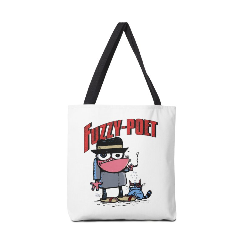 Hip Cat Logo Tee Accessories Tote Bag Bag by Fuzzy Poet's Artist Shop