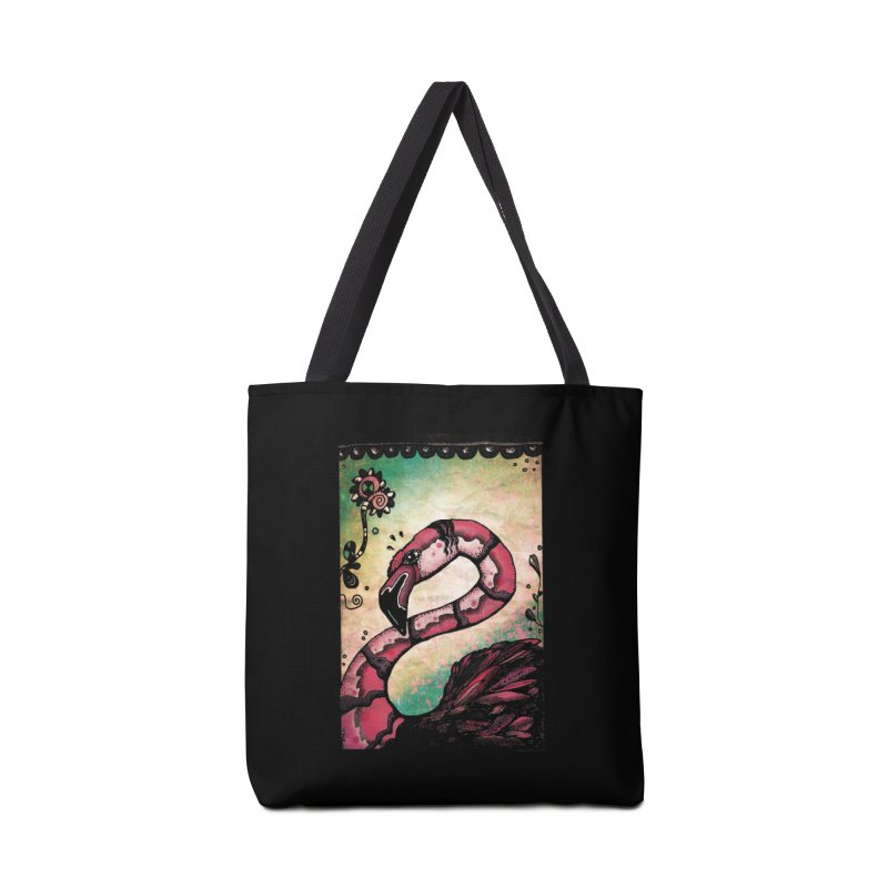 Psychedelic Flamingo Accessories Tote Bag Bag by Fuzzy Poet's Artist Shop