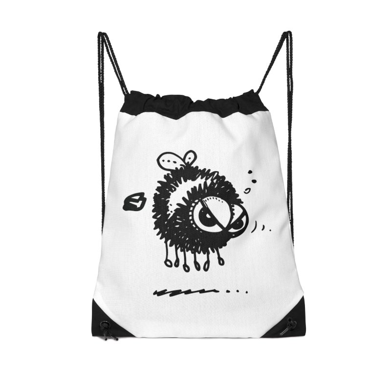 The Angry Bee Accessories Drawstring Bag Bag by Fuzzy Poet's Artist Shop