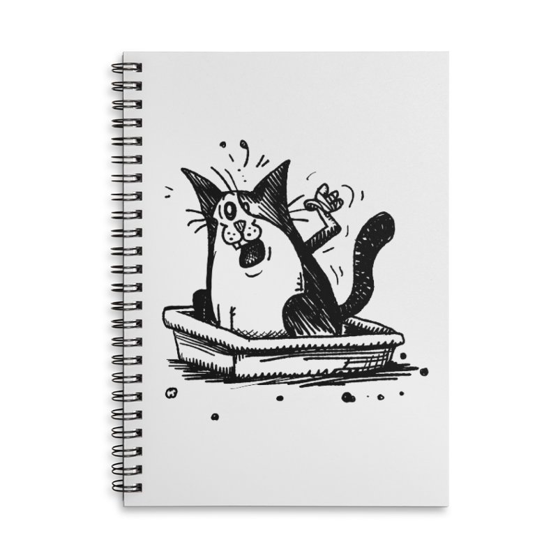 Litterbox! Accessories Lined Spiral Notebook by Fuzzy Poet's Artist Shop
