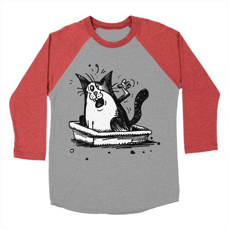 Litterbox! Men's Baseball Triblend Longsleeve T-Shirt by Fuzzy Poet's Artist Shop