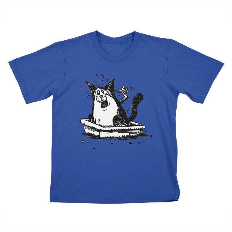 Litterbox! Kids T-Shirt by Fuzzy Poet's Artist Shop