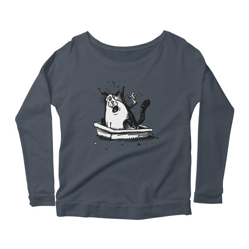 Litterbox! Women's Scoop Neck Longsleeve T-Shirt by Fuzzy Poet's Artist Shop