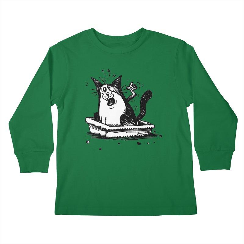 Litterbox! Kids Longsleeve T-Shirt by Fuzzy Poet's Artist Shop